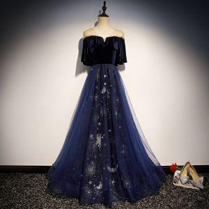 Mode Marineblau Wildleder Durchsichtige Abendkleider 2019 A Linie V-Ausschnitt 1/2 Ärmel Strass Glanz Pailletten Lange Rüschen Rückenfreies Festliche Kleider