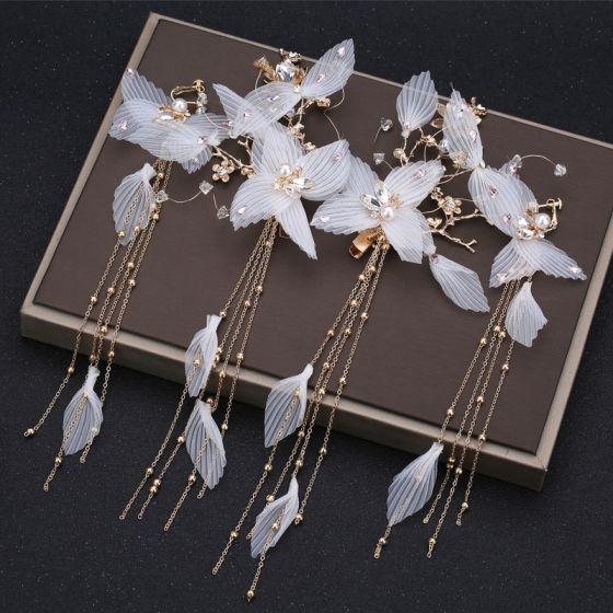 Klassieke Elegante Witte Oorbellen Haaraccessoires 2019 Kralen Parel Rhinestone Kwast Metaal Huwelijk Accessoires