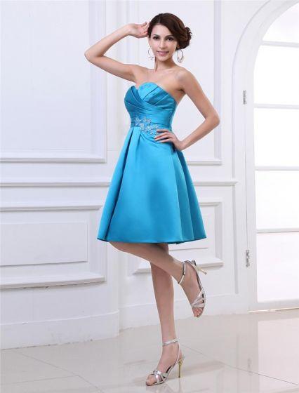 Satin Ruffles Beading Sweetheart Knee Length Cheap Homecoming Dresses