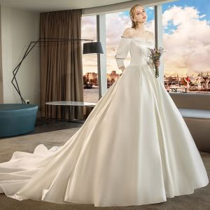 Modest / Simple Ivory Wedding Dresses 2019 A-Line / Princess Off-The-Shoulder 3/4 Sleeve Backless Cathedral Train