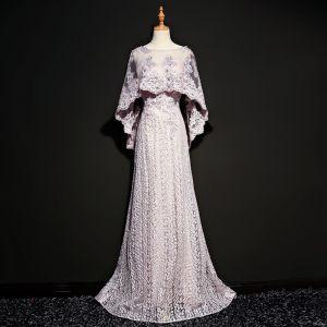 Modern Lavendel Doorzichtige Avondjurken Met Sjaal 2018 A lijn Ronde Hals Mouwloos Appliques Kant Parel Rhinestone Sweep Trein Gelegenheid Jurken