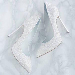 Sparkly Hvide Pailletter Brudesko 2019 12 cm Stiletter Spidse Tå Bryllup Pumps