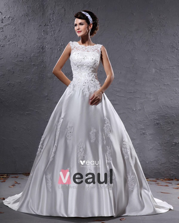 Elegant Satin Beaded Applique Bateau Floor Length Court Train Ball Gown Wedding Dress