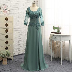 Proste / Simple Zielony Princessa Sukienki Na Wesele Dla Mamy 2019 Szyfon Koronkowe V-Szyja Haftowane Aplikacje Bez Pleców Wykonany Ręcznie Trenem Sweep Kościół Sukienki Na Wesele
