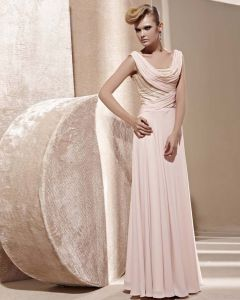 U Shaped Neck Beading Sleeveless Backless Floor Length Tencel Woman Evening Dress