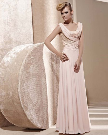 U Shaped Neck Beading Sleeveless Backless Floor Length Tencel Woman Evening Dress