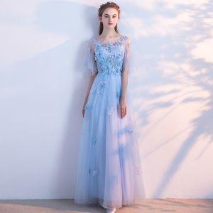 Schöne Himmelblau Abendkleider 2018 A Linie Mit Spitze Schmetterling Rundhalsausschnitt Rückenfreies Kurze Ärmel Lange Festliche Kleider