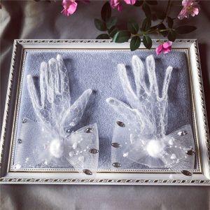 Hada de las flores Blanco Guantes de novia 2020 Apliques Rebordear Flor Rhinestone Tul Boda Gala Accesorios