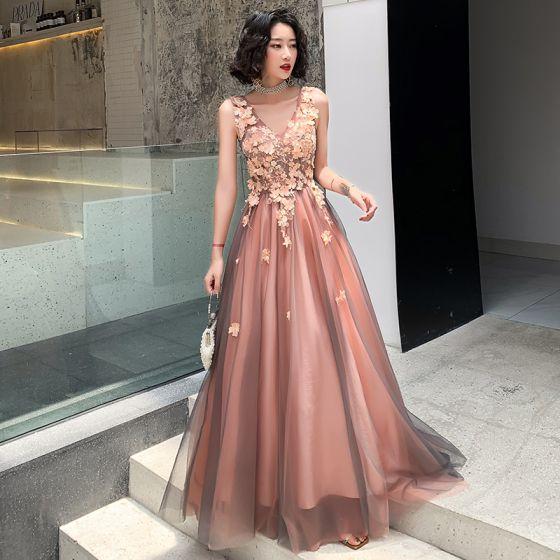 Elegant Blushing Pink Evening Dresses  2019 A-Line / Princess V-Neck Rhinestone Flower Lace Sleeveless Backless Floor-Length / Long Formal Dresses