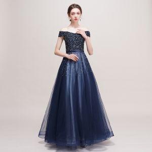 Luksusowe Granatowe Sukienki Na Bal 2018 Princessa Przy Ramieniu Kótkie Rękawy Frezowanie Cekiny Szarfa Długie Wzburzyć Bez Pleców Sukienki Wizytowe