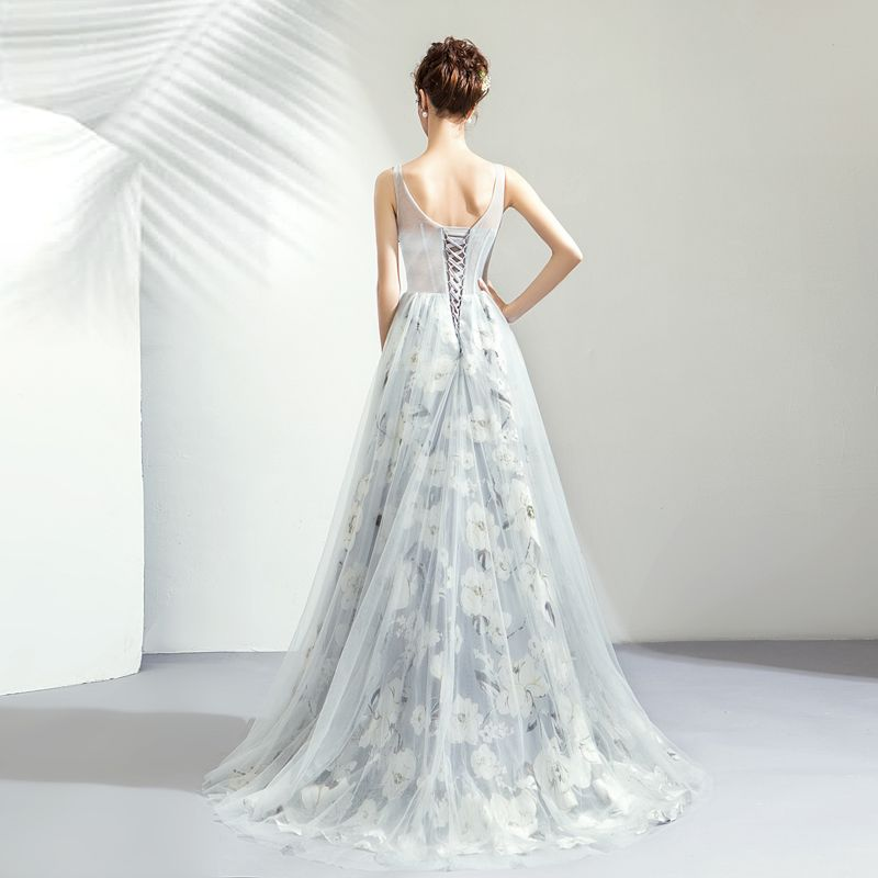 Romantic Grey Evening Dresses  2019 A-Line / Princess U-Neck Sleeveless Appliques Lace Pearl Printing Flower Floor-Length / Long Ruffle Backless Formal Dresses
