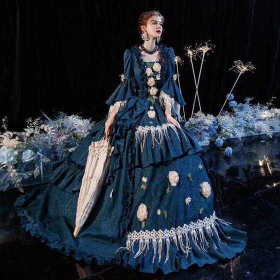 Vintage Mittelalterlich Viktorianischer Stil Tintenblau Ballkleid Ballkleider 2021 Eckiger Ausschnitt Gekreuzte Träger Lange 3/4 Ärmel 3D Spitze Blumen Perle Quaste Drucken Cosplay Ball Festliche Kleider
