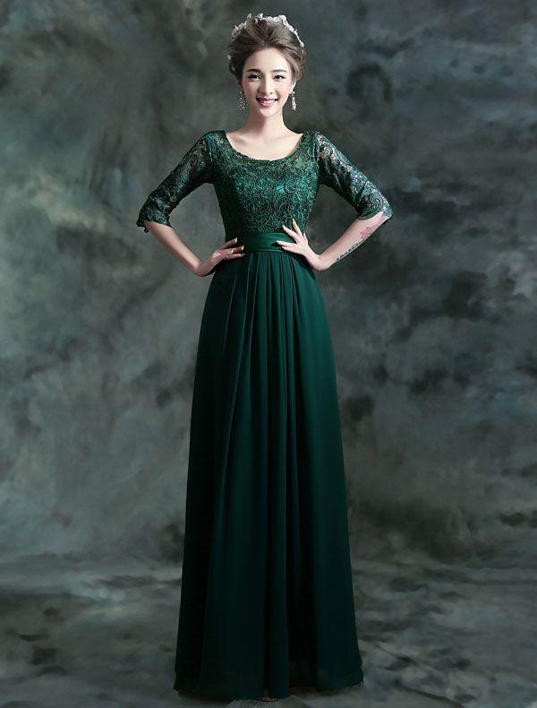 Modest Lange Spitze Abendkleid Dunkelgrünes Festliche Kleid Mit Ärmeln