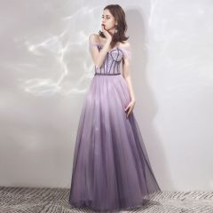 Chic / Beautiful Lavender Gradient-Color Purple Evening Dresses  2019 A-Line / Princess Off-The-Shoulder Short Sleeve Beading Floor-Length / Long Ruffle Backless Formal Dresses