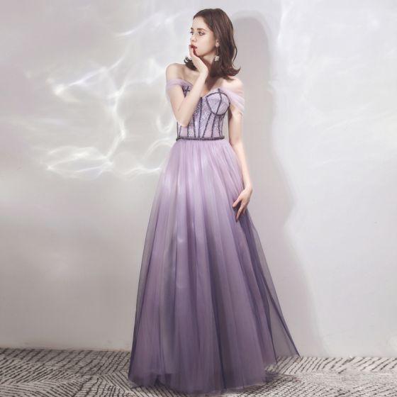 Chic / Beautiful Lavender Gradient-Color Purple Evening Dresses  2019 A-Line / Princess Off-The-Shoulder Short Sleeve Beading Floor-Length / Long Ruffle Backless Formal Dresses