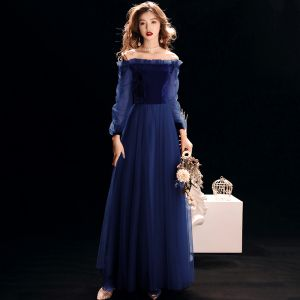 Affordable Royal Blue Suede Evening Dresses  2019 A-Line / Princess Off-The-Shoulder Puffy Long Sleeve Floor-Length / Long Ruffle Backless Formal Dresses
