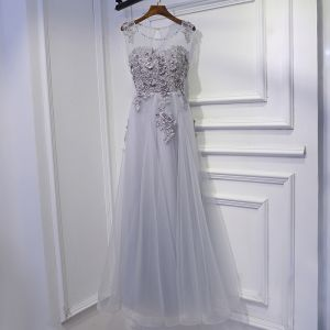 Modest / Simple Silver Wedding Party Dresses Bridesmaid Dresses 2017 Lace Flower Sequins Scoop Neck Ankle Length Sleeveless A-Line / Princess