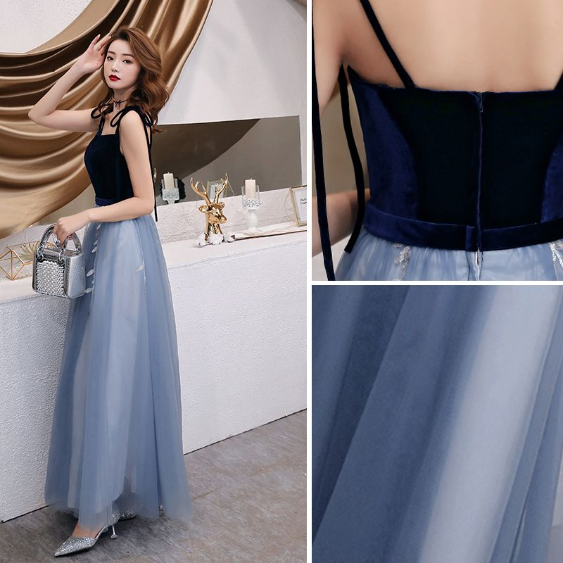 Chic / Beautiful Sky Blue Evening Dresses  2019 A-Line / Princess Spaghetti Straps Bow Sequins Lace Flower Sleeveless Suede Backless Floor-Length / Long Formal Dresses