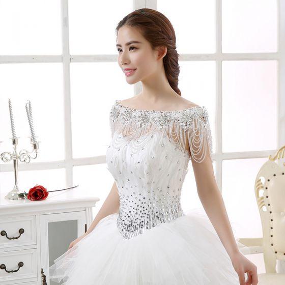 White Lace Beading Crystal Rhinestone Wedding Shawls 2017