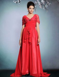 2015 Red Lace Beading Pleated long Evening Dress