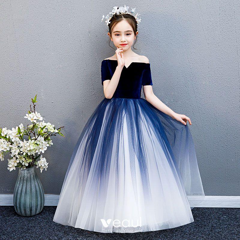 Elegantes Marino Oscuro Degradado De Color Suede Vestidos Para Niñas 2019 Ball Gown Fuera Del Hombro Manga Corta Largos Ruffle Sin Espalda Vestidos