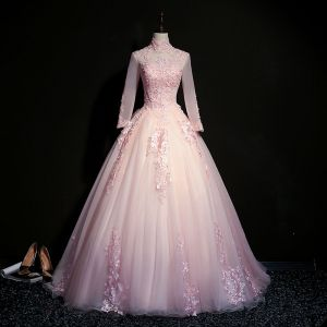 Elegant Blushing Pink Prom Dresses 2019 Ball Gown High Neck Beading Pearl Crystal Lace Flower Long Sleeve Backless Floor-Length / Long Formal Dresses