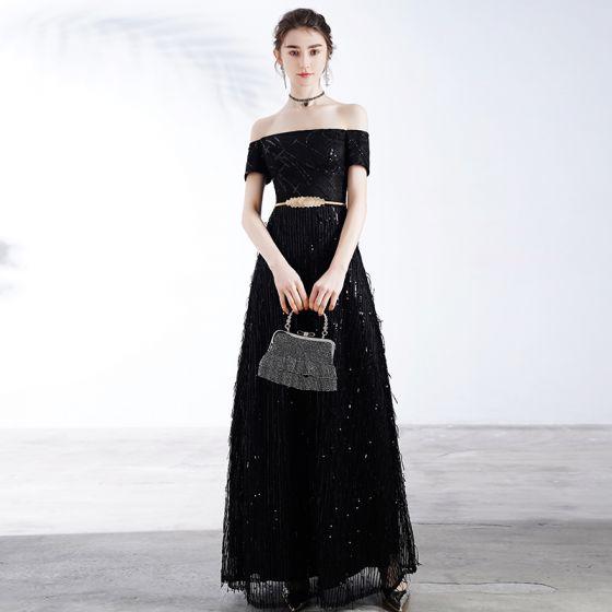 Piękne Czarne Sukienki Wieczorowe 2020 Princessa Przy Ramieniu Kótkie Rękawy Cekiny Metal Szarfa Długie Wzburzyć Bez Pleców Sukienki Wizytowe