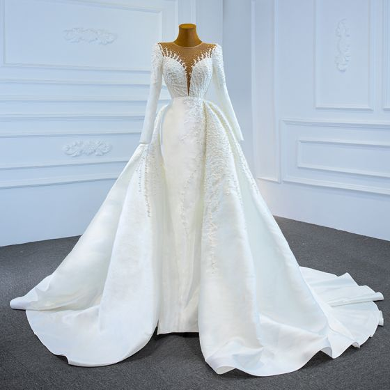Luxury / Gorgeous White Satin Winter See-through Bridal Wedding Dresses 2021 Ball Gown Scoop Neck Long Sleeve Appliques Lace Beading Pearl Chapel Train Ruffle