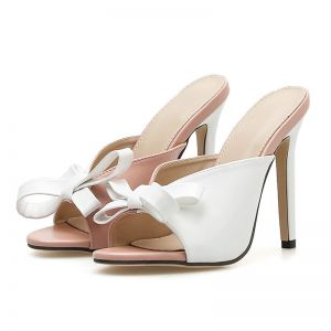 Modest / Simple Two Tone Casual Womens Sandals 2020 Bow 11 cm Stiletto Heels Open / Peep Toe Sandals