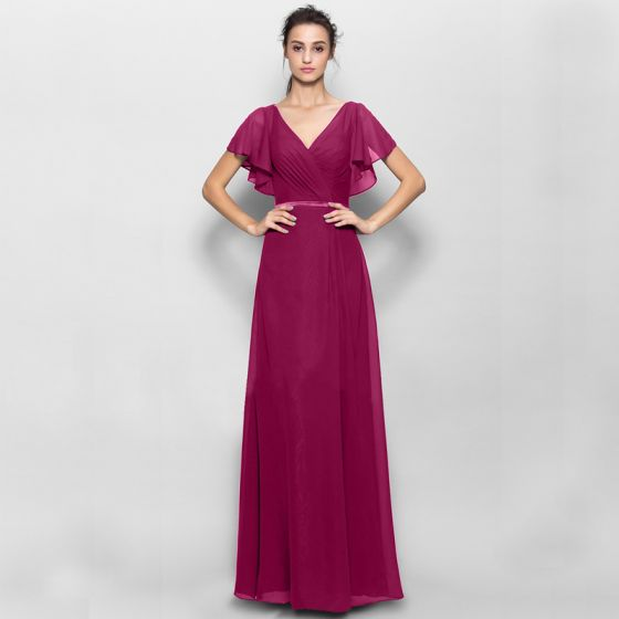 Modest / Simple Burgundy Mother Of The Bride Dresses 2020 A-Line / Princess Floor-Length / Long Short Sleeve V-Neck Puffy Tulle Wedding Evening Party Wedding Party Dresses
