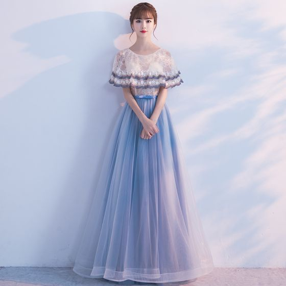 fff1dccaf Hermoso de fiesta Vestidos de graduación 2017 Champán Azul Tinta A-Line   Princess  Largos Volantes En ...