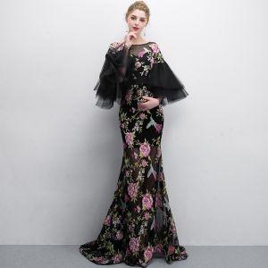 Piękne Czarne Sukienki Wieczorowe 2018 Syrena / Rozkloszowane Druk Wycięciem 3/4 Rękawy Długie Sukienki Wizytowe