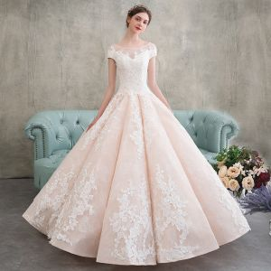 Elegant Champagne Wedding Dresses 2018 Ball Gown Appliques Lace Scoop Neck Short Sleeve Floor-Length / Long Wedding