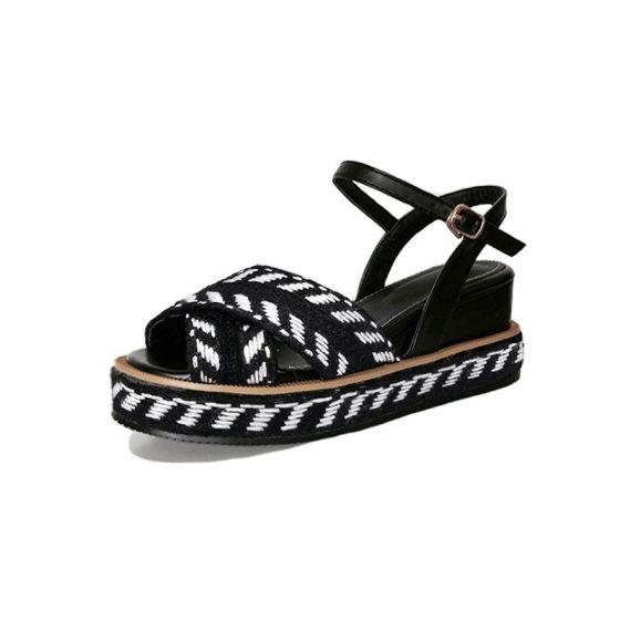 Sencillos Casual Negro Sandalias De Mujer 2017 Peep Toe Planos Modelo De La Cebra 7 cm Sandalias