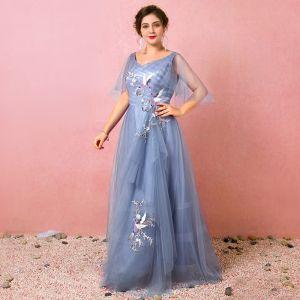 Amazing / Unique Ocean Blue Plus Size Evening Dresses  2018 A-Line / Princess Tulle V-Neck Spring Appliques Backless Crossed Straps Evening Party Formal Dresses
