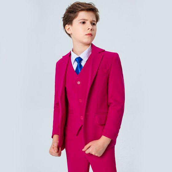 Modest / Simple Royal Blue Tie Fuchsia Boys Wedding Suits 2020