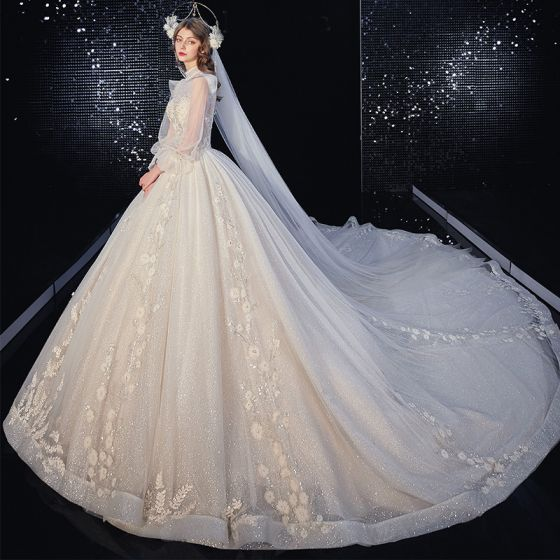 Victorian Style Champagne Bridal Wedding Dresses 2020 Ball Gown See-through High Neck Puffy Long Sleeve Backless Appliques Flower Sequins Beading Glitter Tulle Cathedral Train Ruffle