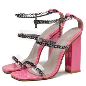 Hermoso Verano Rosa Ropa de calle Sandalias De Mujer 2020 Metal Correa Del Tobillo 11 cm Talones Gruesos Peep Toe Sandalias