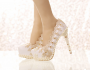 Luxury / Gorgeous 2017 10 cm / 4 inch Champagne Casual PU Appliques High Heels Stiletto Heels Pumps Wedding Shoes