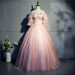 Chic / Beautiful Pearl Pink Prom Dresses 2019 Ball Gown Appliques Lace Off-The-Shoulder 1/2 Sleeves Backless Floor-Length / Long Formal Dresses