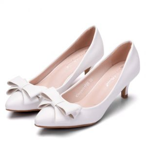 Modest / Simple White Dating Pumps 2018 Bow 5 cm Stiletto Heels Pointed Toe Pumps