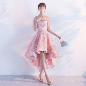 Schöne 2017 Rosa Cocktailkleider A Linie Spitze Applikationen Bandeau Rückenfreies Abendkleider