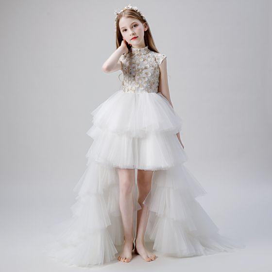 Vintage / Retro White Flower Girl Dresses 2019 Ball Gown High Neck Sleeveless Appliques Lace Beading Asymmetrical Cascading Ruffles Wedding Party Dresses