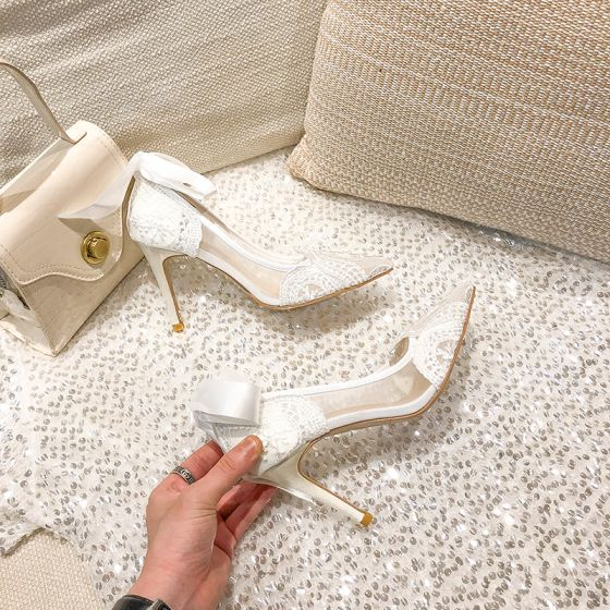Chic / Beautiful Ivory See-through Wedding Shoes 2021 Bow Lace Flower 9 cm Stiletto Heels Pointed Toe Wedding Pumps High Heels