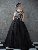 Glitter Prom Dresses 2017 Scoop Neckline Beading Rhinestones Ruffle Black Satin Dress
