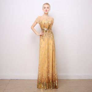 Sparkly Evening Dresses  2017 Lace Sequins Appliques Metal Sash Short Sleeve Scoop Neck Backless Floor-Length / Long Gold Sheath / Fit