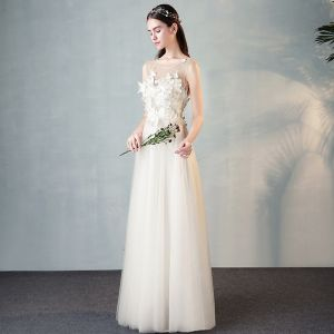 Modern / Fashion Ivory See-through Evening Dresses  2018 A-Line / Princess Scoop Neck 3/4 Sleeve Butterfly Appliques Lace Floor-Length / Long Ruffle Formal Dresses