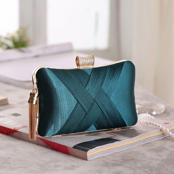 Modest / Simple Dark Green Tassel Clutch Bags 2019