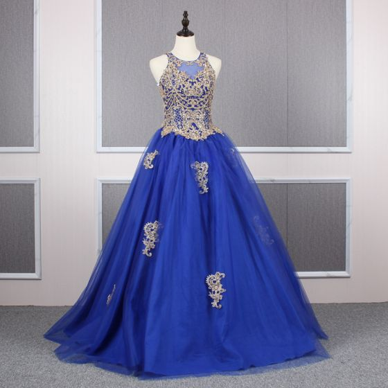 Elegant Royal Blue Prom Dresses 2019 A-Line / Princess Scoop Neck Beading Crystal Sequins Lace Flower Sleeveless Backless Floor-Length / Long Formal Dresses