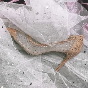 Charming Champagne Dating Pumps 2020 Rhinestone 9 cm Stiletto Heels Pointed Toe Pumps